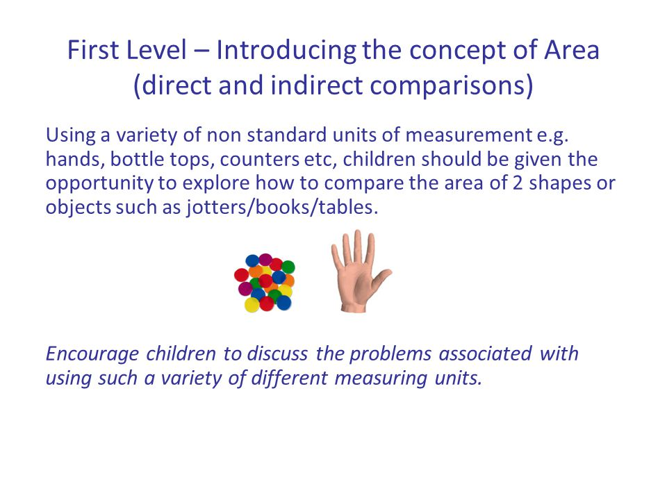 First Level – Introducing the concept of Area (direct and indirect comparisons) Using a variety of non standard units of measurement e.g. hands, bottl