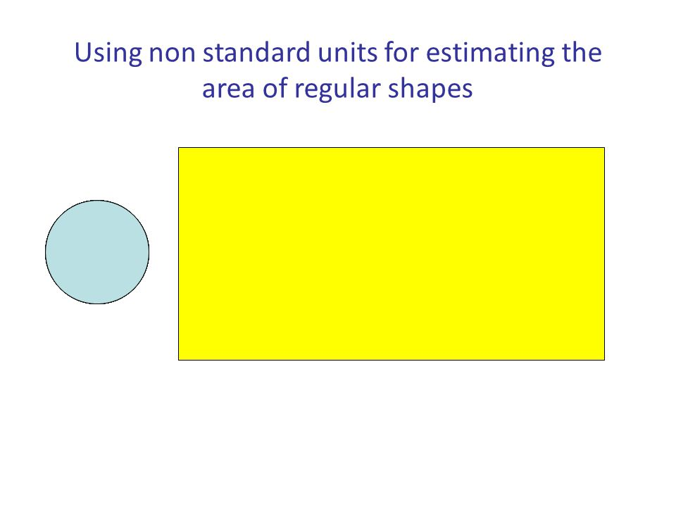 Using non standard units for estimating the area of regular shapes