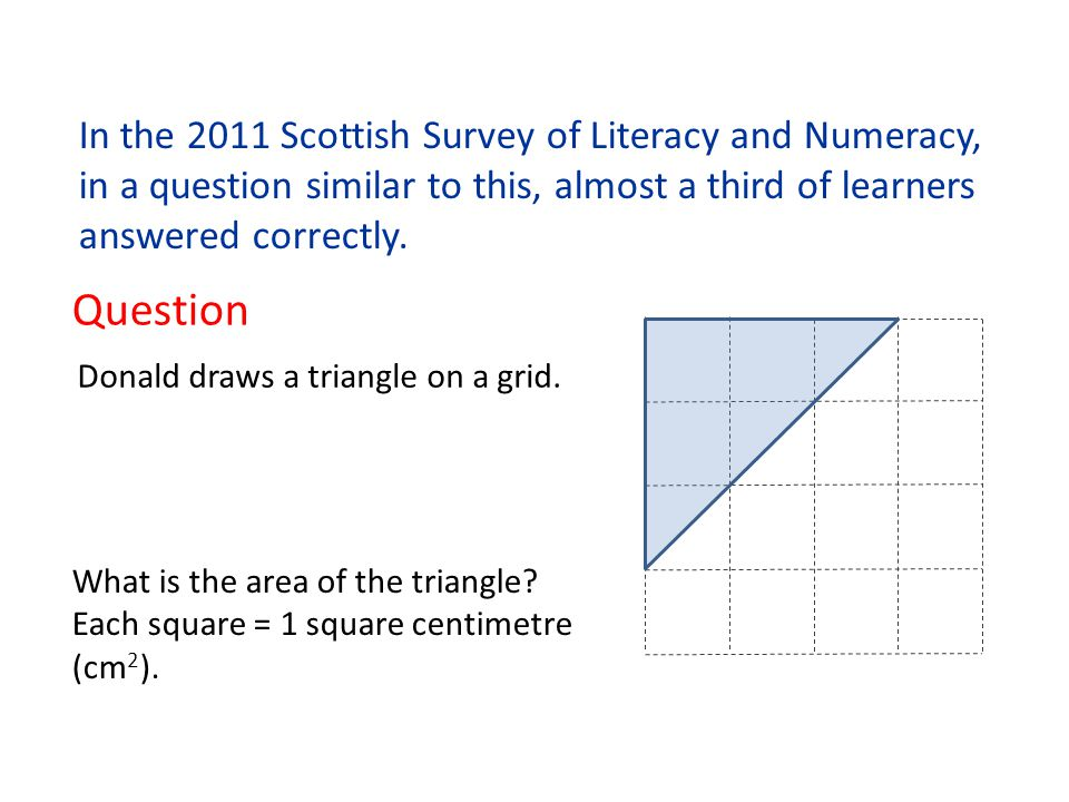In the 2011 Scottish Survey of Literacy and Numeracy, in a question similar to this, almost a third of learners answered correctly. Question Donald dr