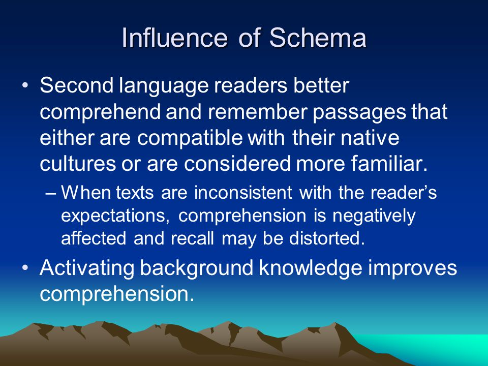 Influence of Schema Second language readers better comprehend and remember passages that either are compatible with their native cultures or are considered more familiar.