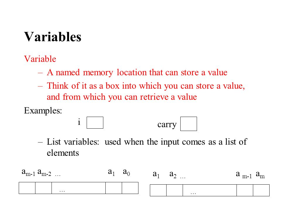 Variables Variable –A named memory location that can store a value –Think of it as a box into which you can store a value, and from which you can retrieve a value Examples: –List variables: used when the input comes as a list of elements i carry a m-1 a m-2 … a 1 a 0 … a 1 a 2 … a m-1 a m …