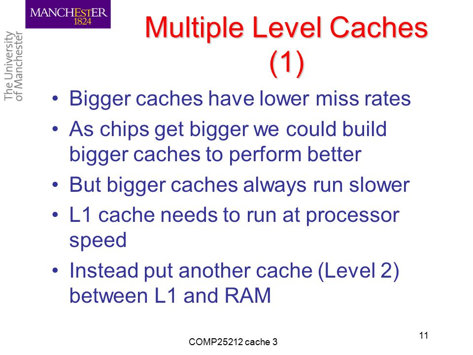 Multiple Level Caches (1) Bigger caches have lower miss rates As chips get bigger we could build bigger caches to perform better But bigger caches alw