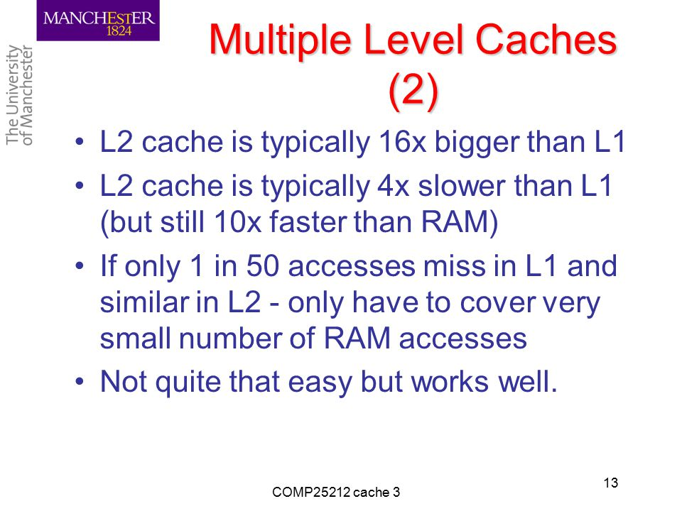Multiple Level Caches (2) L2 cache is typically 16x bigger than L1 L2 cache is typically 4x slower than L1 (but still 10x faster than RAM) If only 1 i