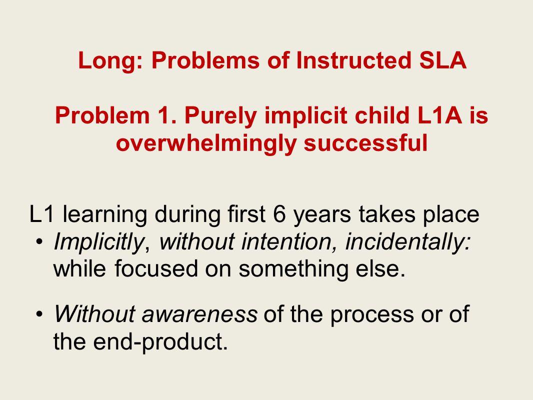 Long: Problems of Instructed SLA Problem 1.
