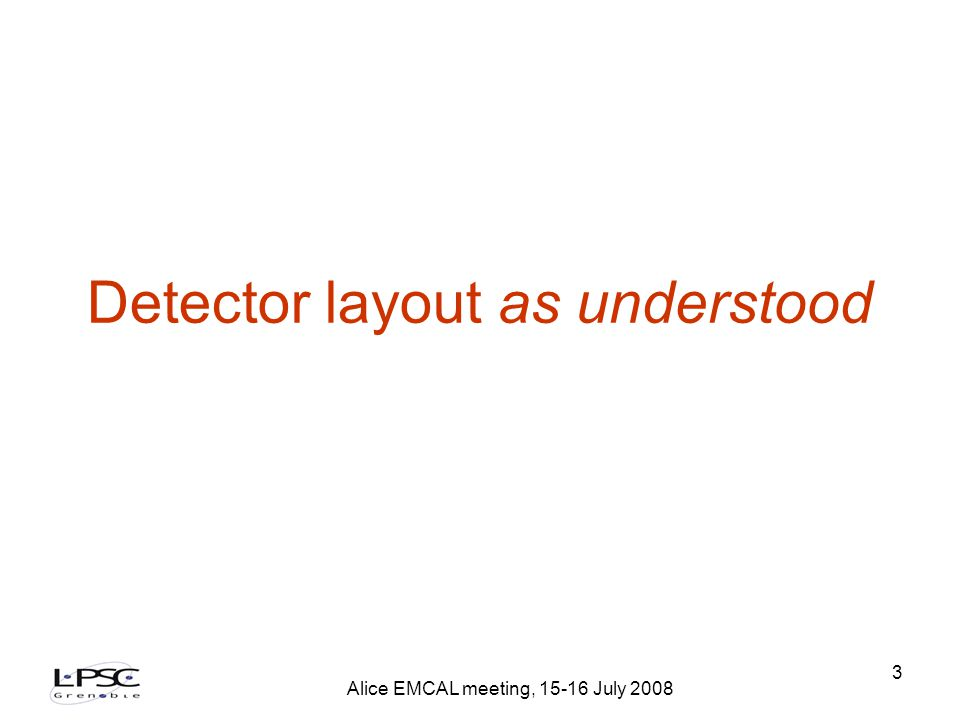 Alice EMCAL meeting, 15-16 July 2008 14 Available L1 processing time t interaction One or several TRU sends L0 to STU 0 ns 600 ns STU forward one L0 to CTP 700 ns L0 from CTP at RCU 1200 ns L1 reception deadline (at CTP input) TRU start of transmission 1400 ns All data in STU 3155 ns 6100 ns PHOS: 112*12 bit/800Mbs+75ns=1.755µs EMCAL: 96*12 bit/800Mbs+75ns=1.515µs 75ns : estimated 15m of wire L1 emission deadline (at STU ouput) 5900 ns 200ns : estimated 40m of wirePHOS: 112*12 bit/800Mbs+75ns=1.755µs EMCAL: 96*12 bit/800Mbs+75ns=1.515µs 75ns : estimated 15m of wire Available 2745 ns (PHOS) Available 2985 ns (EMCAL)
