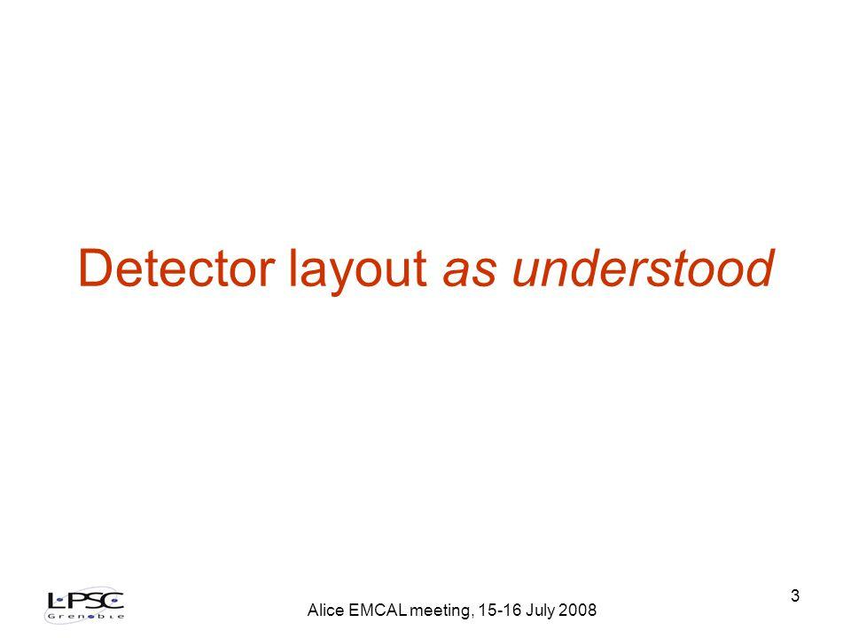 Alice EMCAL meeting, 15-16 July 2008 3 Detector layout as understood
