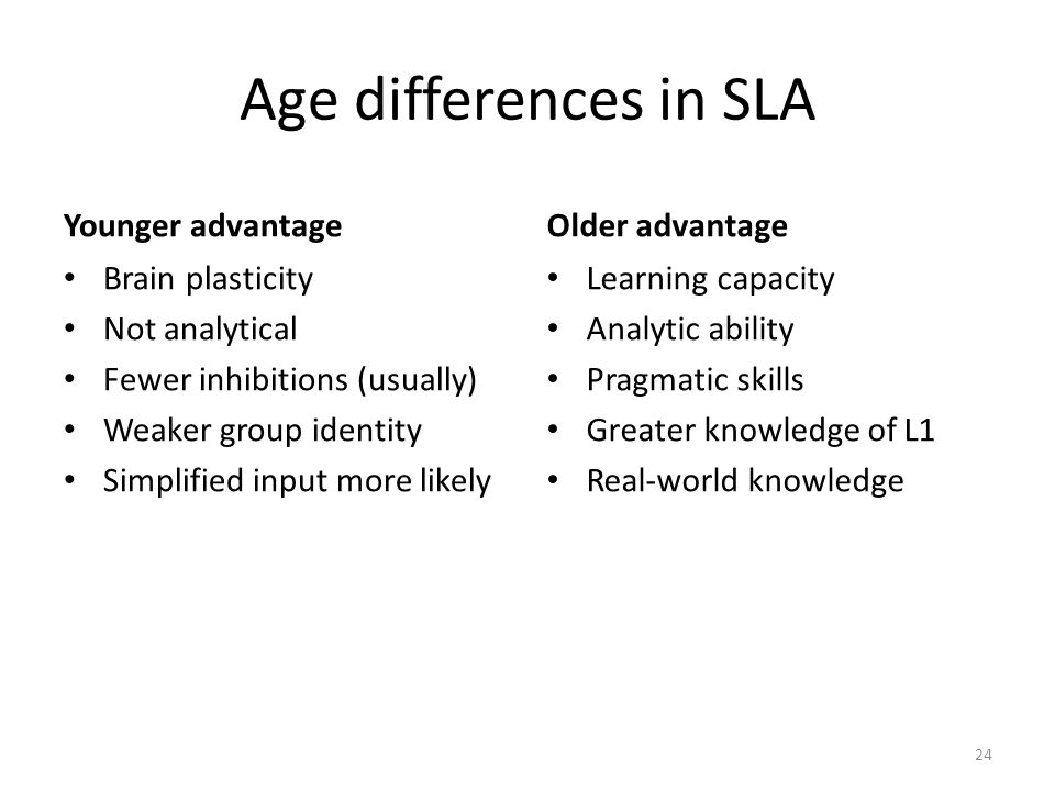 Age differences in SLA Younger advantage Brain plasticity Not analytical Fewer inhibitions (usually) Weaker group identity Simplified input more likel