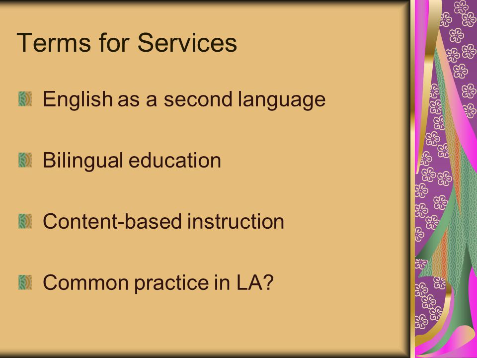 Terms for Services English as a second language Bilingual education Content-based instruction Common practice in LA?