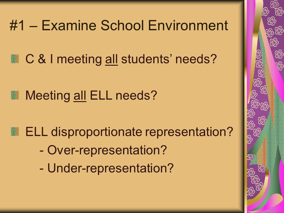 #1 – Examine School Environment C & I meeting all students' needs.