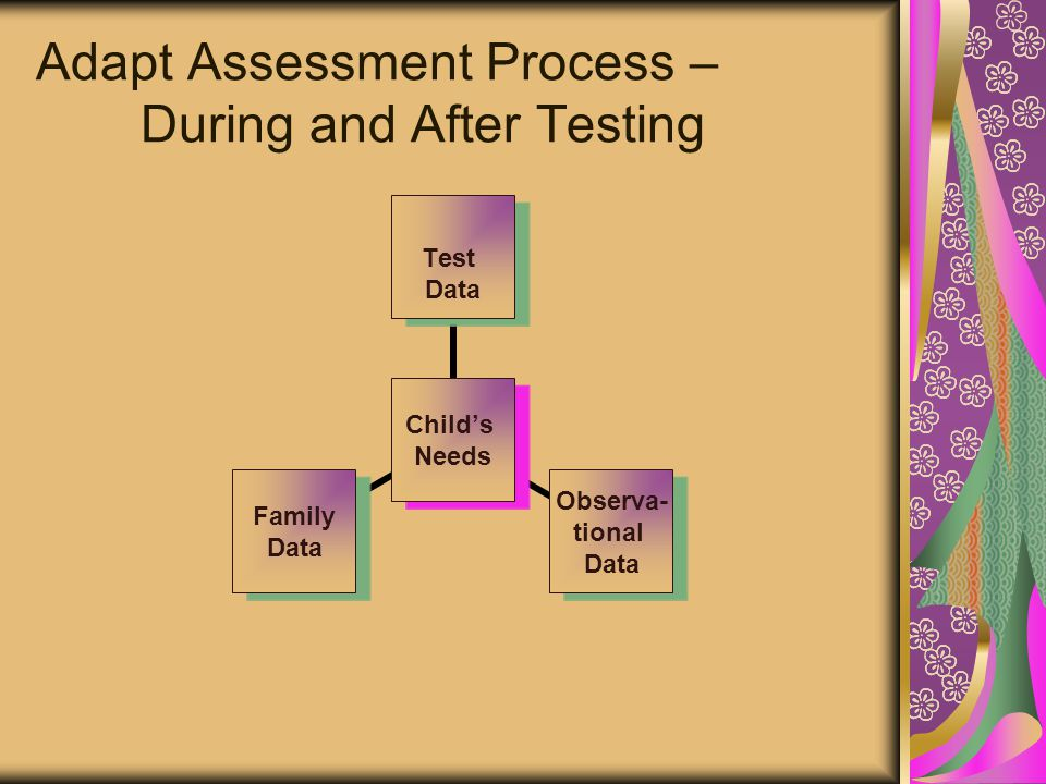 Adapt Assessment Process – During and After Testing Child's Needs Test Data Observa- tional Data Family Data