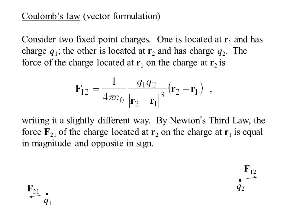 Coulomb's law (vector formulation) Consider two fixed point charges.