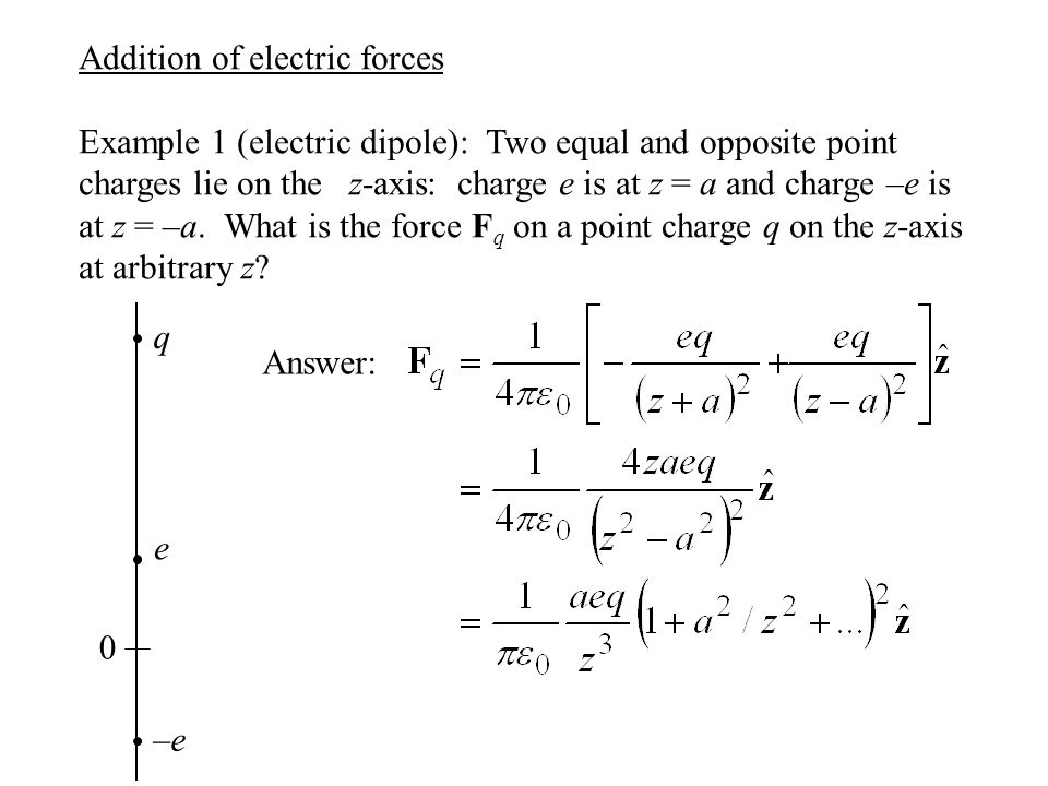 Addition of electric forces Example 1 (electric dipole): Two equal and opposite point charges lie on the z-axis: charge e is at z = a and charge –e is at z = –a.