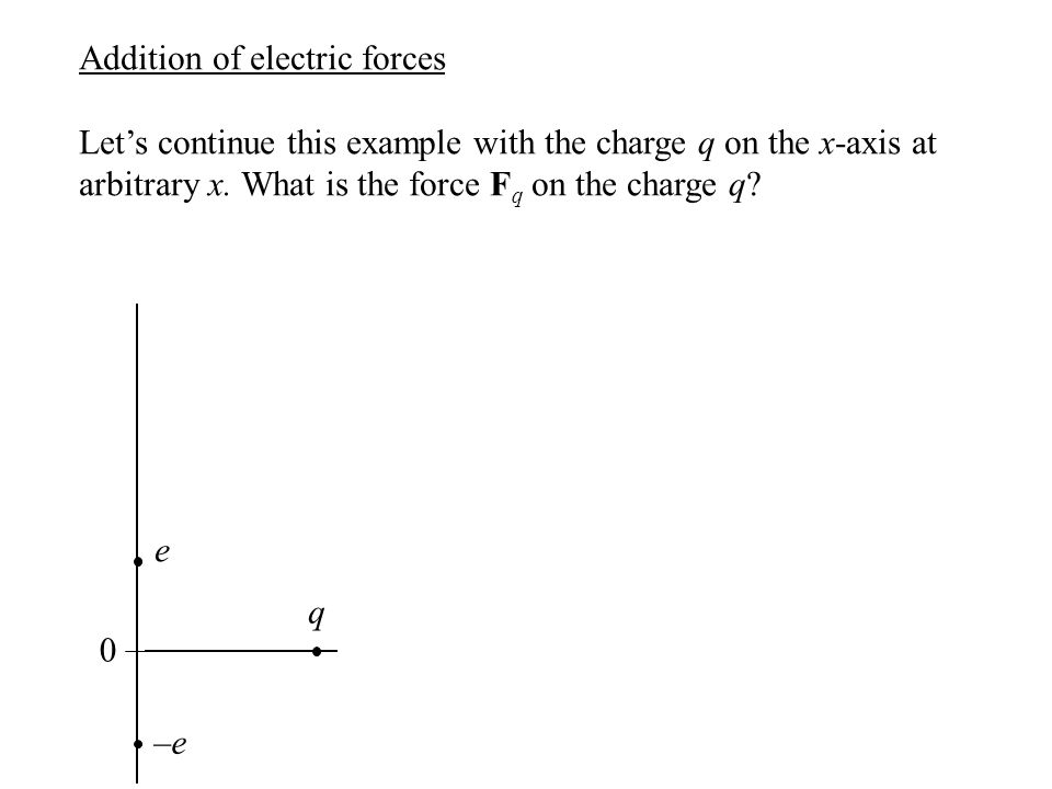 Addition of electric forces Let's continue this example with the charge q on the x-axis at arbitrary x. What is the force F q on the charge q? –e–e q