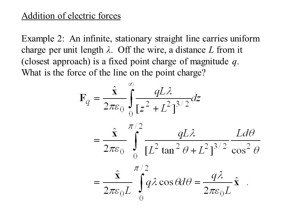 Addition of electric forces Example 2: An infinite, stationary straight line carries uniform charge per unit length λ.