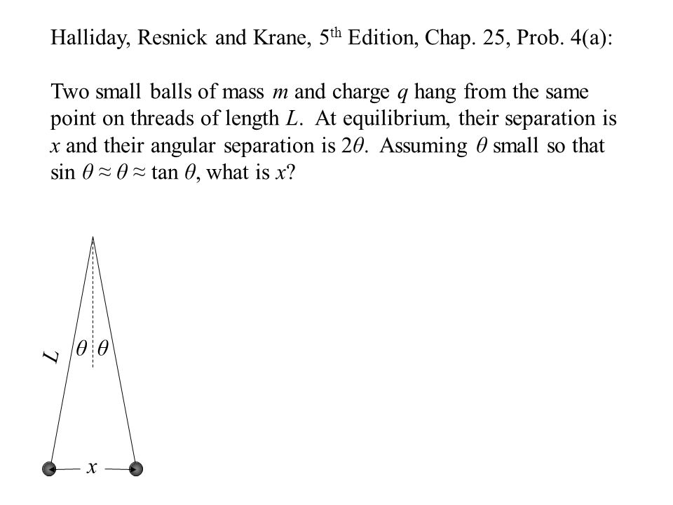 Halliday, Resnick and Krane, 5 th Edition, Chap. 25, Prob. 4(a): Two small balls of mass m and charge q hang from the same point on threads of length