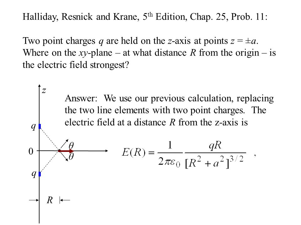Halliday, Resnick and Krane, 5 th Edition, Chap. 25, Prob. 11: Two point charges q are held on the z-axis at points z = ±a. Where on the xy-plane – at