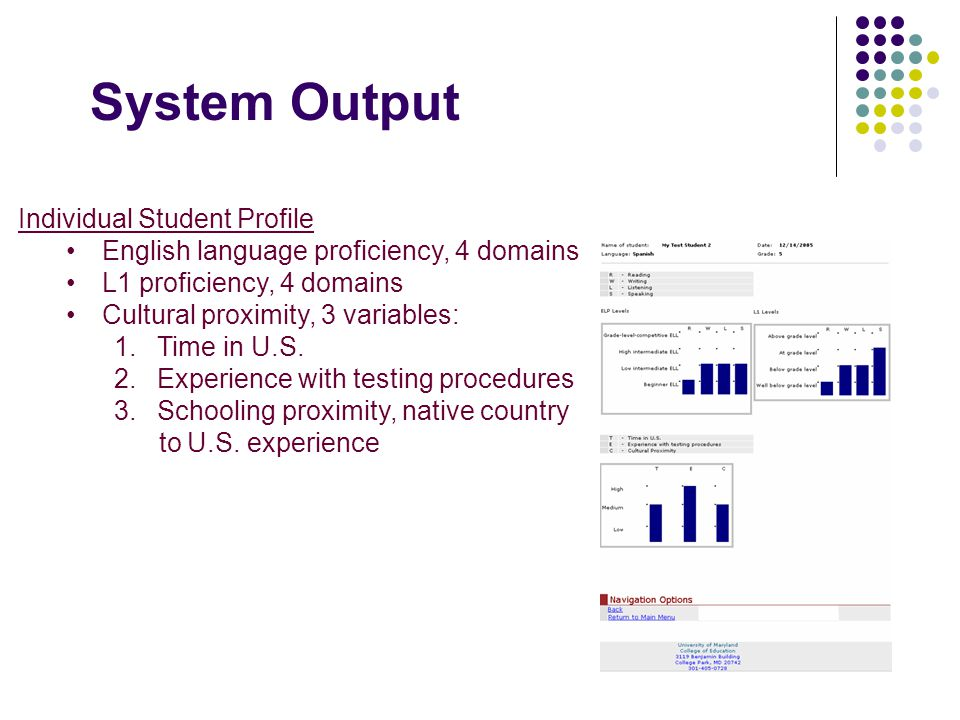 System Output Individual Student Profile English language proficiency, 4 domains L1 proficiency, 4 domains Cultural proximity, 3 variables: 1. Time in