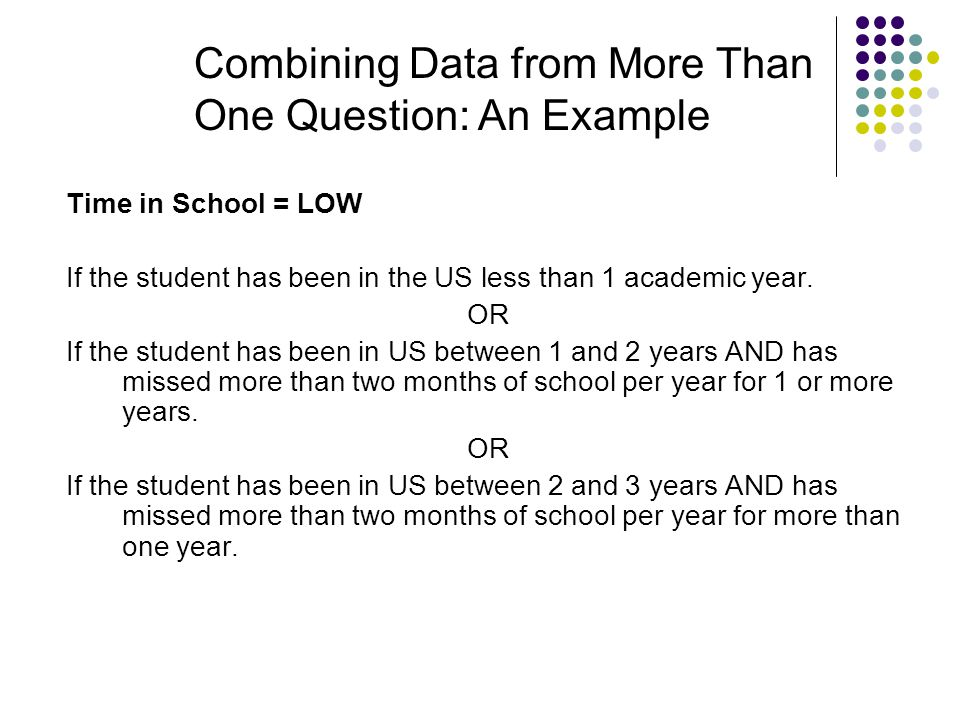 Time in School = LOW If the student has been in the US less than 1 academic year. OR If the student has been in US between 1 and 2 years AND has misse