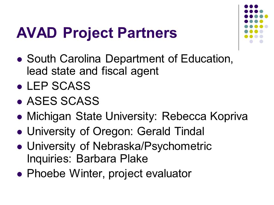 AVAD Project Period Current project period from October 1, 2006 to March 31, 2008 One-year no-cost extension will be requested SCASS grant activities will begin in spring/summer 2007 SCASS grant activities will be scheduled during or immediately before/after regularly scheduled SCASS meetings