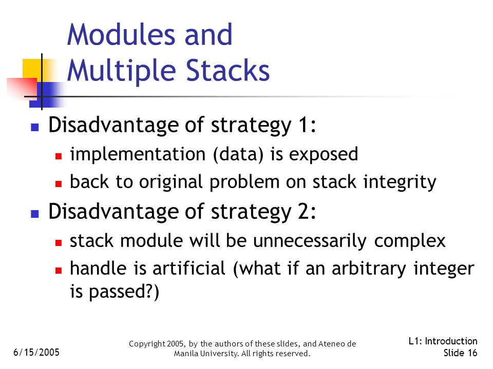 6/15/2005 Copyright 2005, by the authors of these slides, and Ateneo de Manila University. All rights reserved. L1: Introduction Slide 16 Modules and