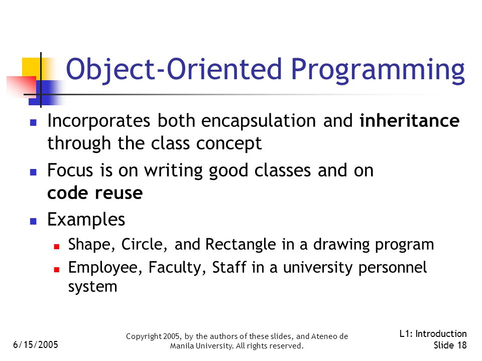 6/15/2005 Copyright 2005, by the authors of these slides, and Ateneo de Manila University.