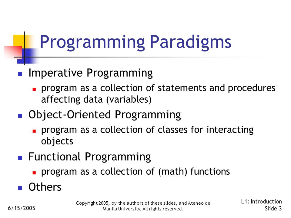 6/15/2005 Copyright 2005, by the authors of these slides, and Ateneo de Manila University. All rights reserved. L1: Introduction Slide 3 Programming P