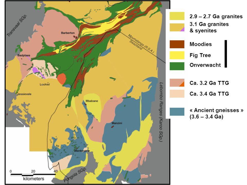 2.9 – 2.7 Ga granites 3.1 Ga granites & syenites Moodies Fig Tree Onverwacht Ca. 3.2 Ga TTG Ca. 3.4 Ga TTG « Ancient gneisses » (3.6 – 3.4 Ga)