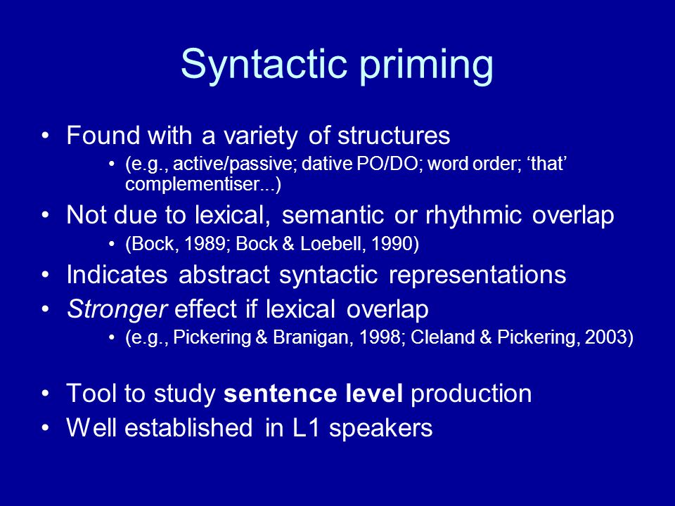 L2 syntactic processing Do L2 speakers acquire: –Abstract syntactic representations.
