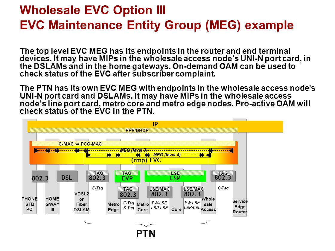 VDSL2 or Fiber DSLAM Core Wholesale EVC Option III EVC Maintenance Entity Group (MEG) example Service Edge Router Whole sale Access Metro Core Metro E