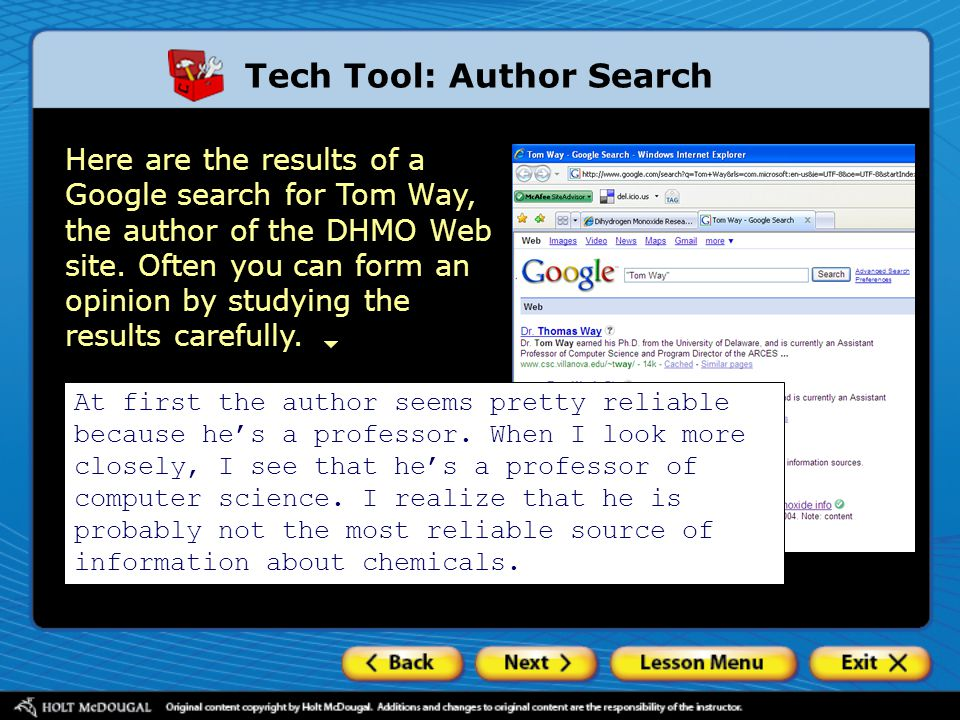 Here are the results of a Google search for Tom Way, the author of the DHMO Web site.