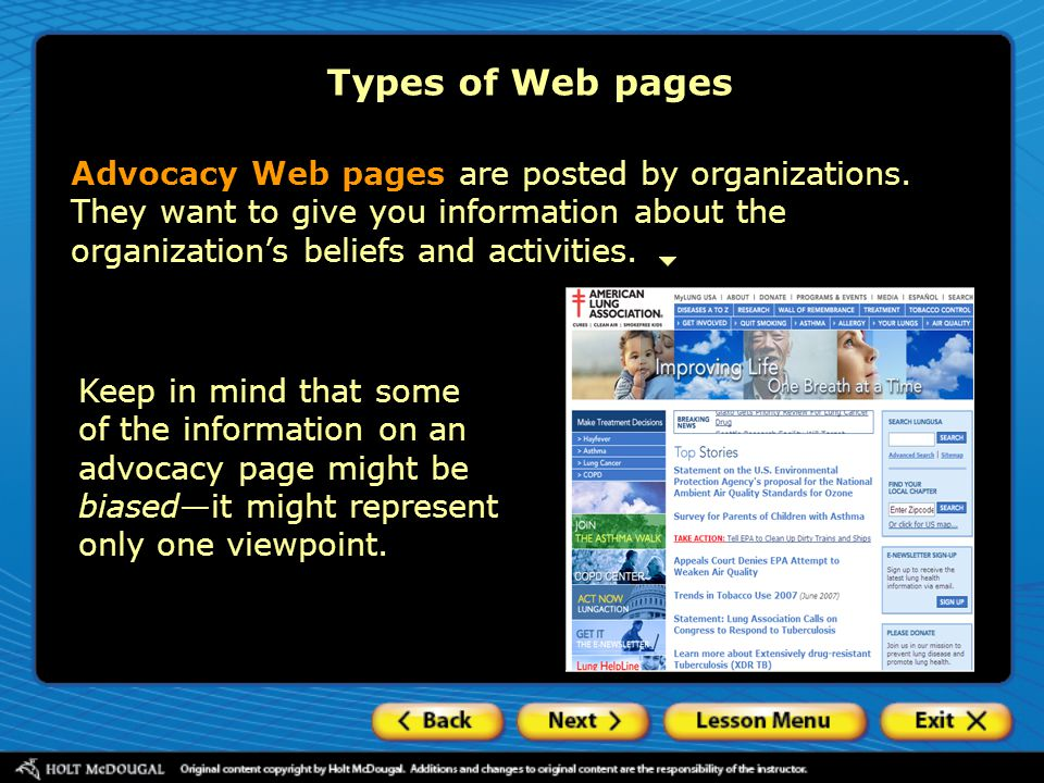 Advocacy Web pages are posted by organizations.