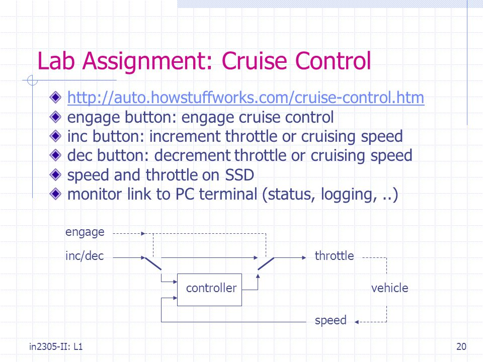 in2305-II: L120 Lab Assignment: Cruise Control   engage button: engage cruise control inc button: increment throttle or cruising speed dec button: decrement throttle or cruising speed speed and throttle on SSD monitor link to PC terminal (status, logging,..) throttle speed vehiclecontroller inc/dec engage