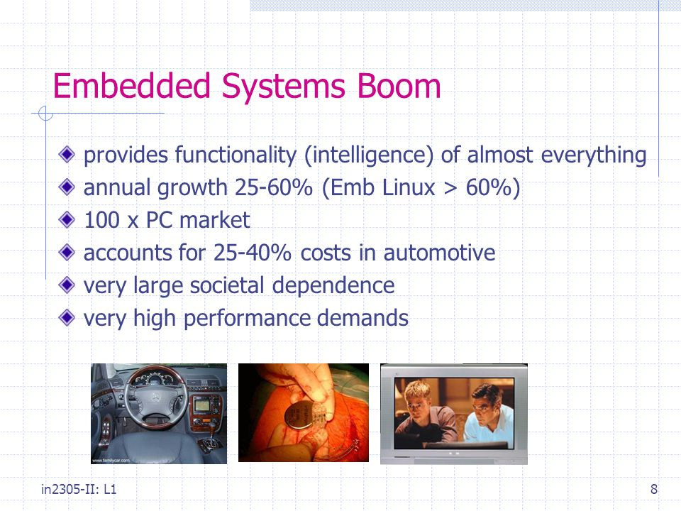 in2305-II: L18 Embedded Systems Boom provides functionality (intelligence) of almost everything annual growth 25-60% (Emb Linux > 60%) 100 x PC market accounts for 25-40% costs in automotive very large societal dependence very high performance demands