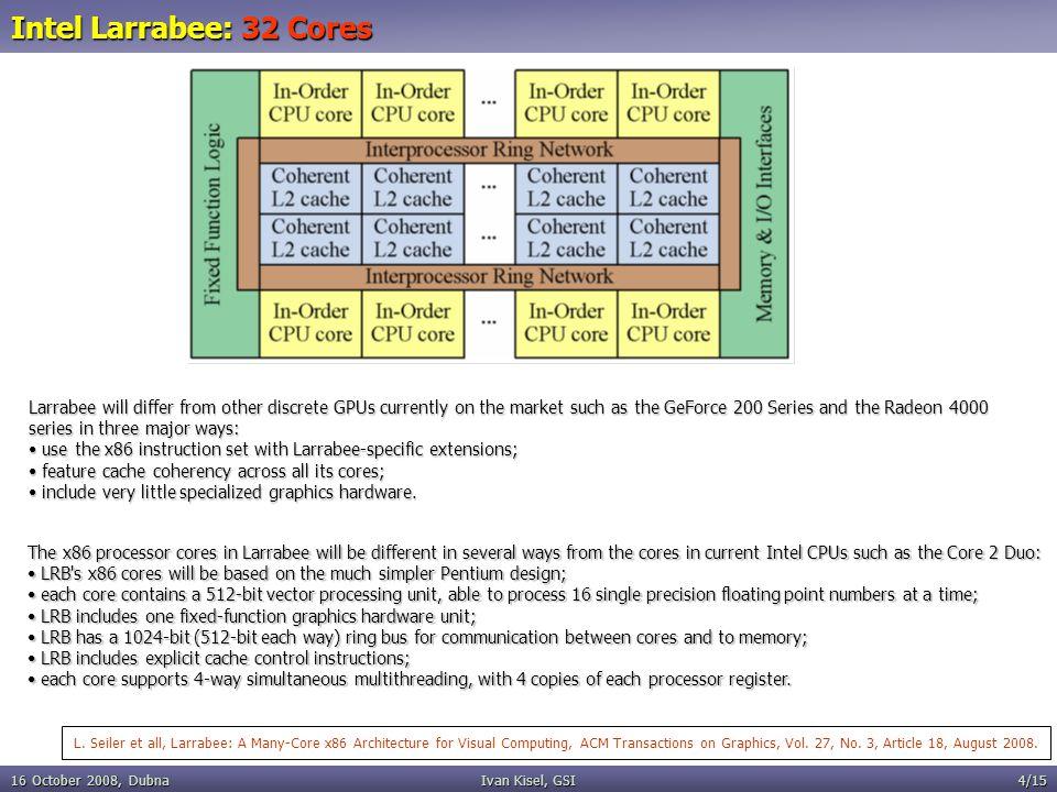 16 October 2008, DubnaIvan Kisel, GSI4/15 Intel Larrabee: 32 Cores L.