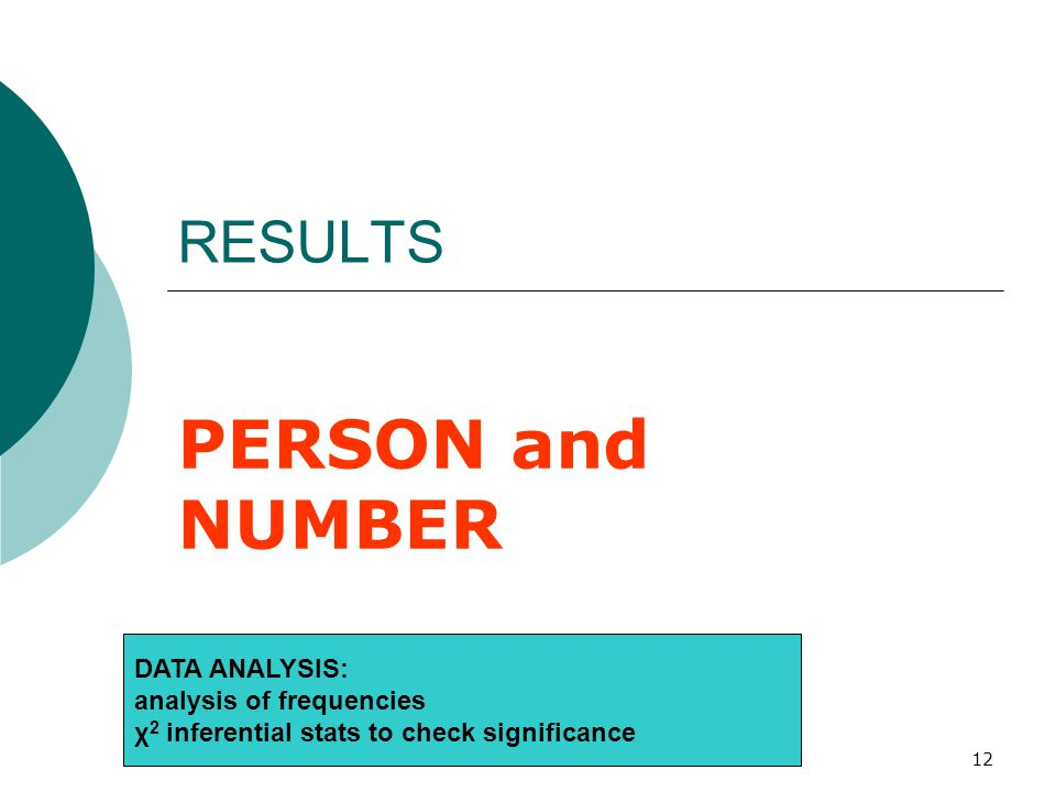 12 RESULTS PERSON and NUMBER DATA ANALYSIS: analysis of frequencies χ 2 inferential stats to check significance