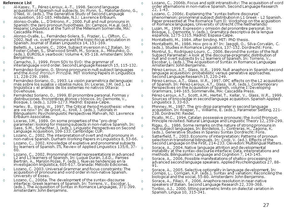 27 Reference List  Al-Kasey, T., Pérez-Leroux, A.-T., 1998.