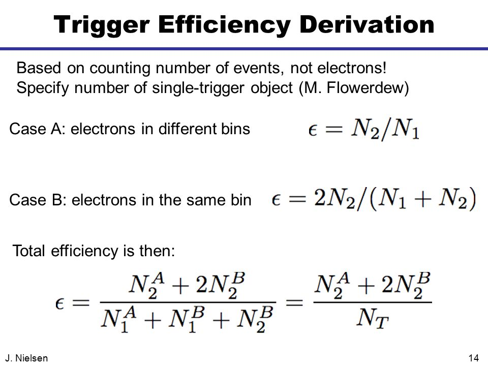 J. Nielsen14 Trigger Efficiency Derivation Based on counting number of events, not electrons.