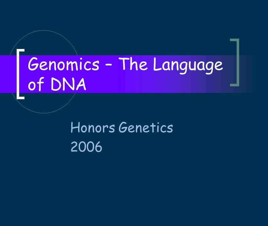 Genomics – The Language of DNA Honors Genetics 2006