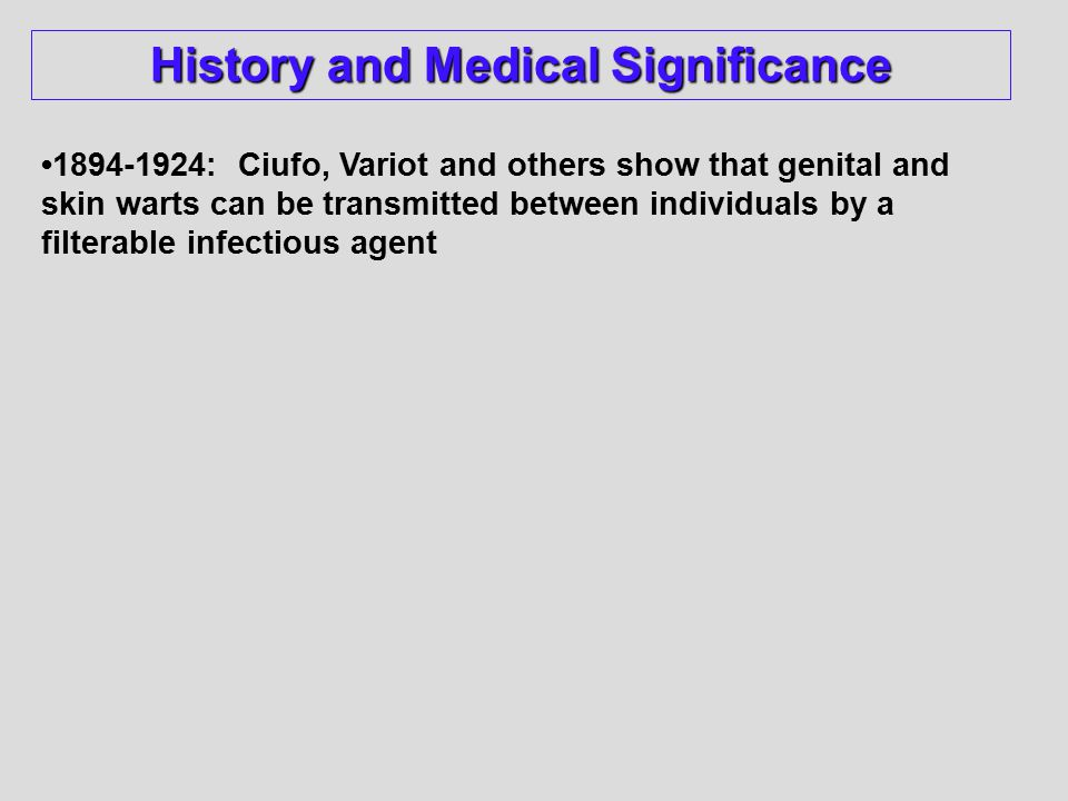 1894-1924: Ciufo, Variot and others show that genital and skin warts can be transmitted between individuals by a filterable infectious agent History and Medical Significance