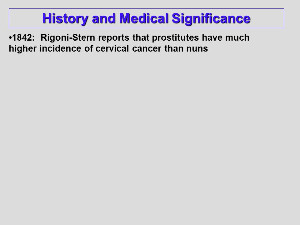 1842: Rigoni-Stern reports that prostitutes have much higher incidence of cervical cancer than nuns History and Medical Significance