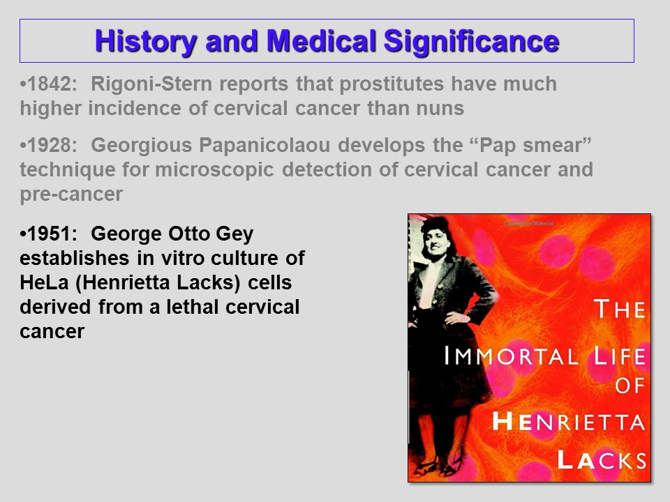 1842: Rigoni-Stern reports that prostitutes have much higher incidence of cervical cancer than nuns 1928: Georgious Papanicolaou develops the Pap smear technique for microscopic detection of cervical cancer and pre-cancer 1951: George Otto Gey establishes in vitro culture of HeLa (Henrietta Lacks) cells derived from a lethal cervical cancer History and Medical Significance