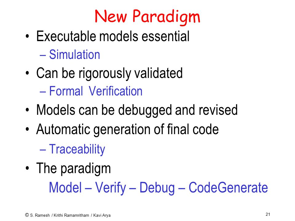 © S. Ramesh / Krithi Ramamritham / Kavi Arya 21 New Paradigm Executable models essential –Simulation Can be rigorously validated –Formal Verification