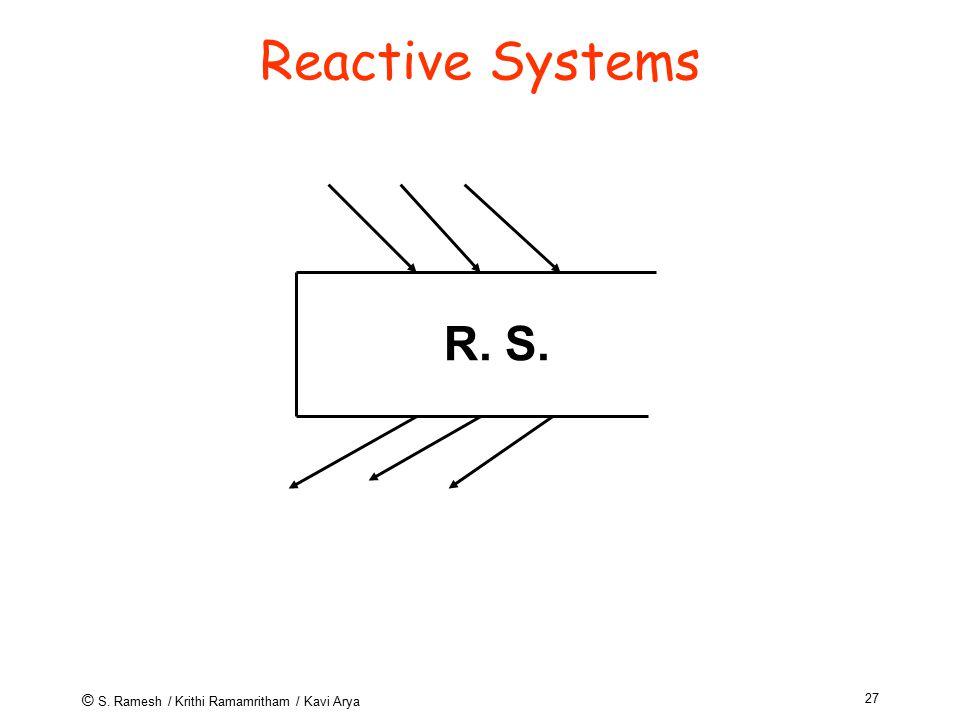 © S. Ramesh / Krithi Ramamritham / Kavi Arya 27 Reactive Systems R. S.