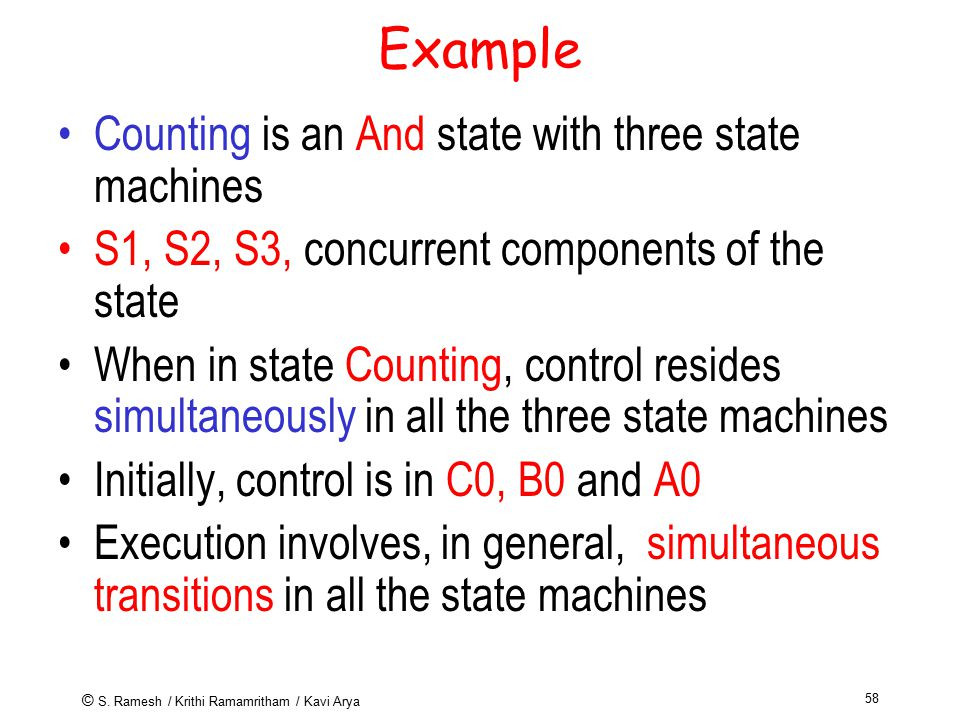 © S. Ramesh / Krithi Ramamritham / Kavi Arya 58 Example Counting is an And state with three state machines S1, S2, S3, concurrent components of the st