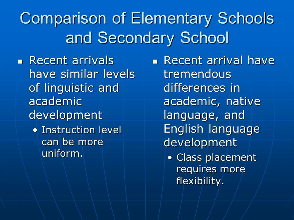 Comparison of Elementary Schools and Secondary School Recent arrivals have similar levels of linguistic and academic development Recent arrivals have
