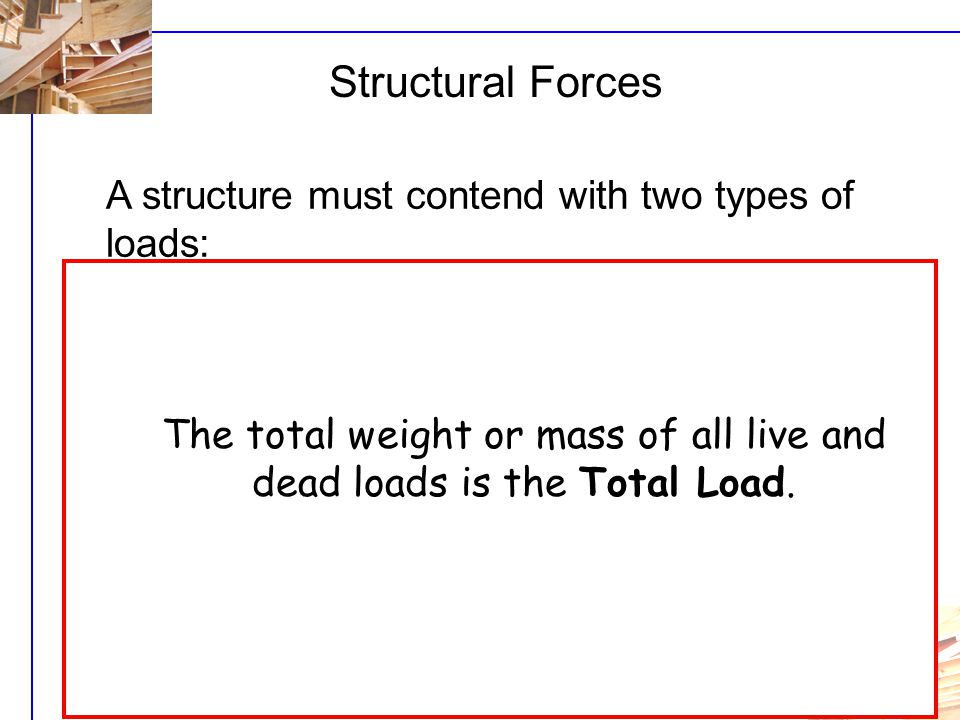 U3i - L1 Structural Forces A structure must contend with two types of loads: 1.Dead Loads: permanent loads that do not change. The weight of building