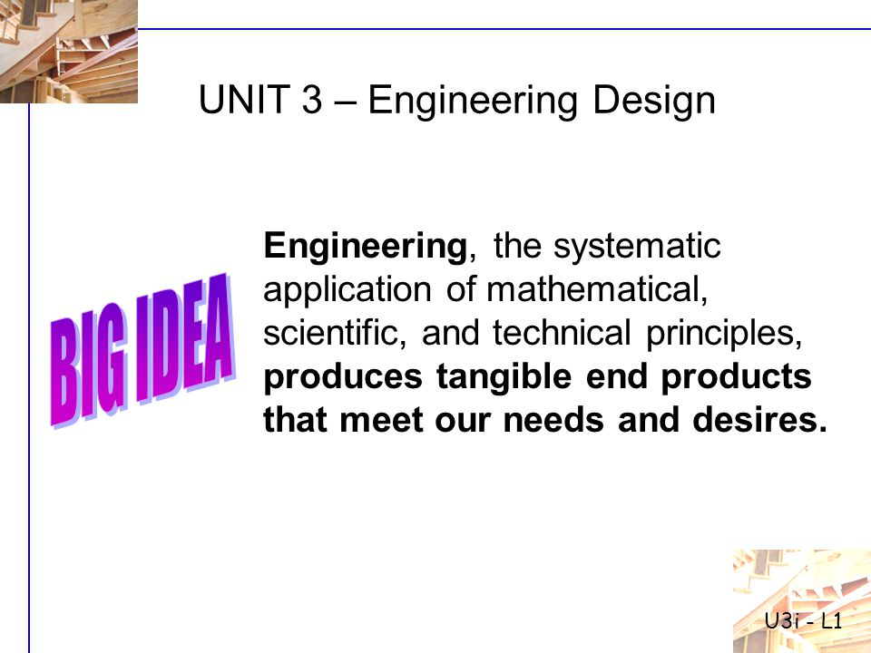 UNIT 3 – Engineering Design a.Getting familiar with the Big Idea b.The Design Process c.Core Technologies d.Mechanical Technology e.Electrical Technology f.Fluid Technology g.Thermal Technology h.Optical Technology Materials Technology Biotechnology i.Structural Technology
