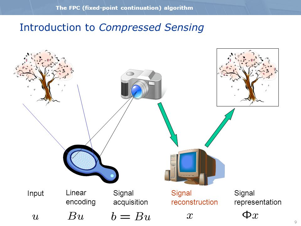 9 The FPC (fixed-point continuation) algorithm Introduction to Compressed Sensing Input Linear encoding Signal acquisition Signal reconstruction Signa