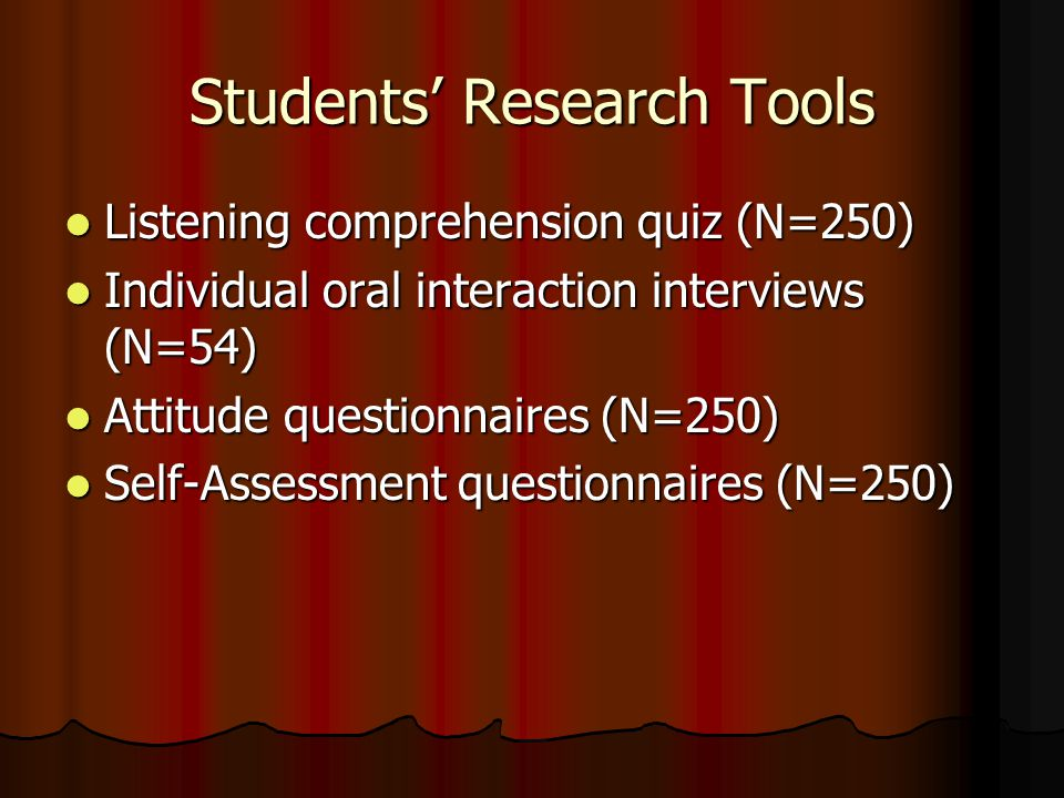 Students' Research Tools Listening comprehension quiz (N=250) Listening comprehension quiz (N=250) Individual oral interaction interviews (N=54) Individual oral interaction interviews (N=54) Attitude questionnaires (N=250) Attitude questionnaires (N=250) Self-Assessment questionnaires (N=250) Self-Assessment questionnaires (N=250)