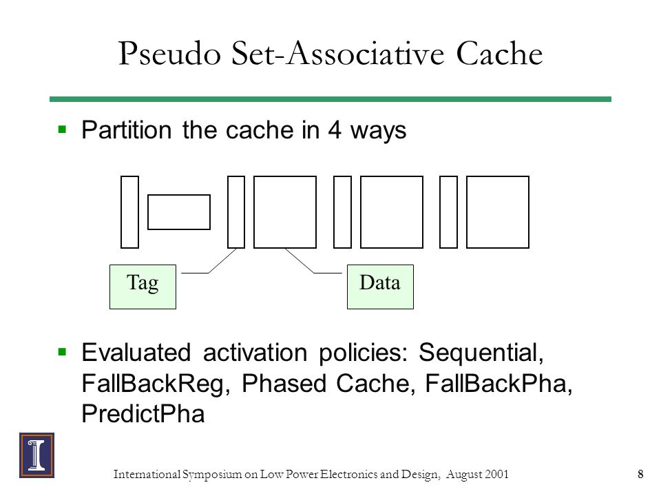 International Symposium on Low Power Electronics and Design, August 200119 Pseudo Set-Associative + Specialized Stack Cache Combining PSAC and SSC reduces E*D by 44% on average